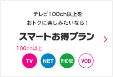 テレビ90ch以上をおトクに楽しみたいなら! スマートお得プラン