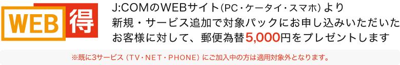 J:COMのWEBサイト(PC・ケータイ・スマホ)より新規・サービス追加で対象パックにお申し込みいただいたお客様に対して、郵便振替5,000円をプレゼントします