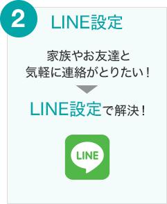 2 LINE設定 家族やお友達と気軽に連絡がとりたい! → LINE設定で解決!