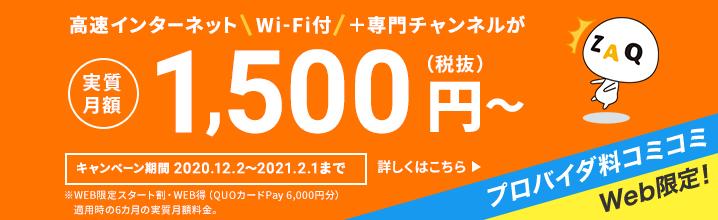 高速インターネット (Wi-Fi付き) が月額3,900円(税抜)~